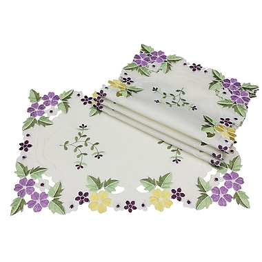 Xia Home Fashions Fancy Flowers Placemat (Set of 4); Purple