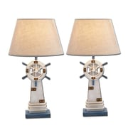 Urban Designs Ship's Wheel Nautical 25'' H Table Lamp (Set of 2)