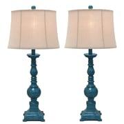 Urban Designs Kerry Distressed Polystone Pedestal 31'' H Table Lamp (Set of 2)