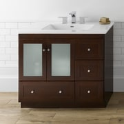 Ronbow Shaker 36'' Bathroom Vanity Cabinet Base in Dark Cherry - Frosted Glass Doors on Left