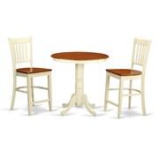 East West Eden 3 Piece Counter Height Pub Table Set; Buttermilk/Cherry