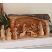 EarthwoodLLC Olive Wood Solid Branch Stable w/ Traditional Nativity Figurine Set