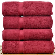 Bare Cotton Luxury Hotel and Spa Towel 100pct Turkish Cotton Bath Towel (Set of 4); Cranberry
