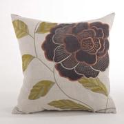 Saro Imani Embroidered Flower Design Throw Pillow; Brown