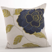 Saro Imani Embroidered Flower Design Throw Pillow; Navy Blue