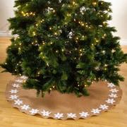 Saro Felicia Poinsettia Design Round Christmas Stocking Tree Skirt; White