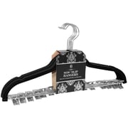Signature Home Brands Velvet Skirt/Pant Non-Slip Hanger with Metal Clips (Set of 72); Black