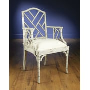 AA Importing Chinese Chippendale Arm Chair; Distressed Parchment