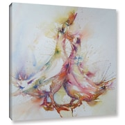ArtWall 'Ducks 3' by Liz Chaderton Painting Print on Wrapped Canvas; 18'' H x 18'' W x 2'' D
