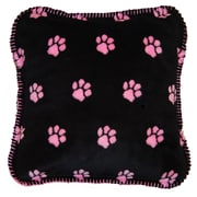 Denali Paw Prints Throw Pillow; Pink