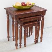 International Caravan Windsor Hand Carved 3 Piece Nesting Tables (Set of 3)