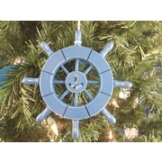 Handcrafted Nautical Decor 6'' Decorative Ship Wheel w/ Anchor Christmas Tree Ornament; Light Blue