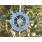 Handcrafted Nautical Decor 6'' Decorative Ship Wheel w/ Starfish Christmas Tree Ornament; Light Blue