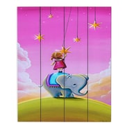 DiaNocheDesigns Elephant Stars by Cindy Thornton Painting Print Plaque; 24'' H x 20'' W x 1'' D