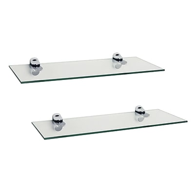 DanyaB Floating Shelf (Set of 2) ; Clear Glass