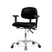Perch Chairs and Stools 12'' Multi-Task Office Chair with Adjustable Armrests; Black