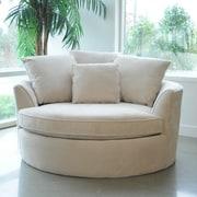 Red Barrel Studio Roquefort Cuddler Barrel Chair; Creme