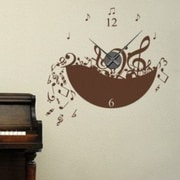 Style and Apply Music Wall Clock Wall Decal; Gold