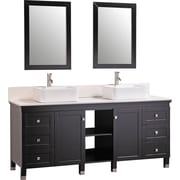 Legion Furniture 72'' Double Solid Wood Bathroom Vanity Set with Mirrors; Black
