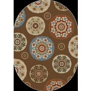 Rugs of Dalton Our Time Deco Pinwheel Chocolate Area Rug; Oval 5' x 8'
