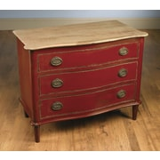 AA Importing 3 Drawer Chest; Red