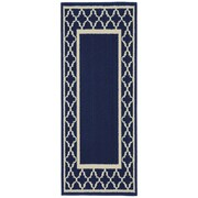 Garland Rug Moroccan Frame Indigo/Ivory Area Rug; Runner 2' x 5'