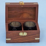 Handcrafted Nautical Decor Anchor Shot Glasses w/ Rosewood Box (Set of 2); Oil Rubbed Bronze