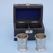 Handcrafted Nautical Decor Anchor Shot Glasses w/ Rosewood Box (Set of 2); Brushed Nickel
