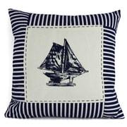 Handcrafted Nautical Decor Sloop Nautical Stripes Decorative Throw Pillow