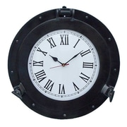 Handcrafted Nautical Decor Deluxe Class Porthole 17'' Clock; Oil Rubbed Bronze
