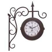 UtopiaAlley Vintage Inspired Train Station Double Sided Wall Hanging Clock