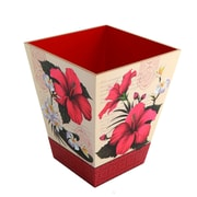 TSC Giftables Hibiscus Blossom Manufactured Wood Trash Can; Red