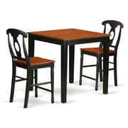East West 3 Piece Counter Height Pub Table Set; Black/Cherry