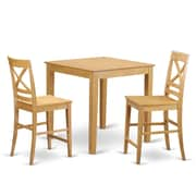East West 3 Piece Counter Height Pub Table Set; Oak