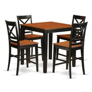 East West 5 Piece Counter Height Pub Table Set; Black/Cherry