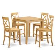 East West 5 Piece Counter Height Pub Table Set; Oak