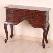 International Caravan Windsor Queen Ann Carved Wood 5-Drawer Hall Table