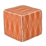 Brite Ideas Living Handcut Shapes Crushed Orange Corded Foam Ottoman; 13'' W x 13'' D