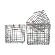 Urban Trends 3 Piece Square Nesting Wire Basket Set; Silver