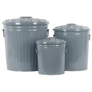 Urban Trends 3 Piece Metal Round Storage w/ Classic Garbage Set; Gun Metal Gray