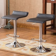 Roundhill Furniture Adjustable Height Swivel Bar Stool with Cushion (Set of 2); Black