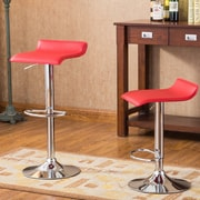 Roundhill Furniture Adjustable Height Swivel Bar Stool with Cushion (Set of 2); Red