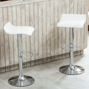 Roundhill Furniture Adjustable Height Swivel Bar Stool with Cushion (Set of 2); White
