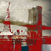 TAF DECOR One Way to Liberty in Red Graphic Art on Canvas