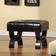 Armen Living Central Park Leather Ottoman; Black
