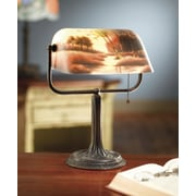 AA Importing Reverse Painted River Scene 13'' Table Lamp