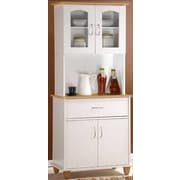 Hodedah Kitchen Island China Cabinet; White