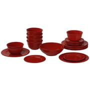 Ten Strawberry Street Nova Round Beaded 19 Piece Dinnerware Set; Red