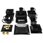 Ten Strawberry Street Nova Square Beaded 43 Piece Dinnerware Set; Black