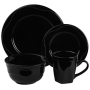 Ten Strawberry Street Nova Round Beaded 16 Piece Dinnerware Set; Black